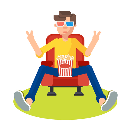 Young teen spectator in a movie theater watching film, 3D movie glasses. It keeps holding popcorn and a soft drink. Flat vector cartoon illustration. Objects isolated on a white background.