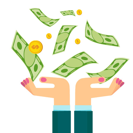 Woman hand holding money. Businessman hands catch notes and coins fall from sky. Bank and Finance. Flat vector illustration. Objects isolated on white background.