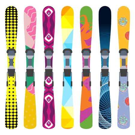 Flat design vector illustration set of bright skis icon. Winter sports. Outfit, clothing, accessories for skiing, snowboarding. Holidays in mountains, active lifestyle. Isolated on white background. Illustration