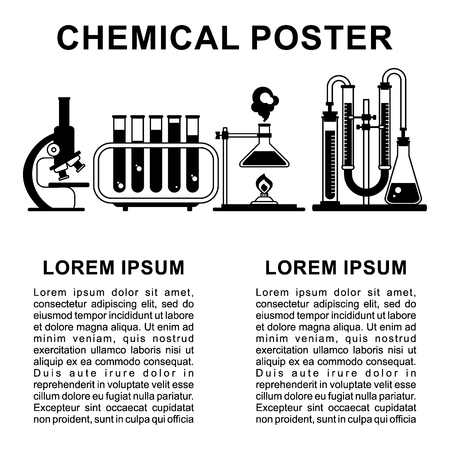 pharmacy symbol: Laboratory poster flat vector design. Icon and text isolated on white background. Template for writing scientific article or advertising in book, magazine or website. Illustration