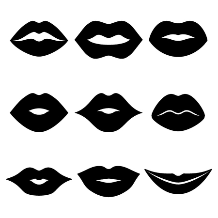 Black lips icon set. Flat design vector illustration isolated on a white background.
