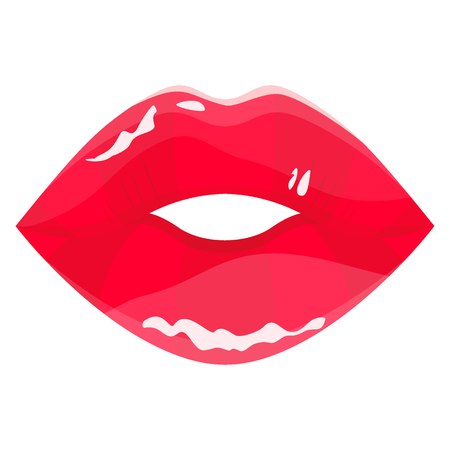 Red sensual lips vector icon. Flat design vector illustration isolated on a white background.