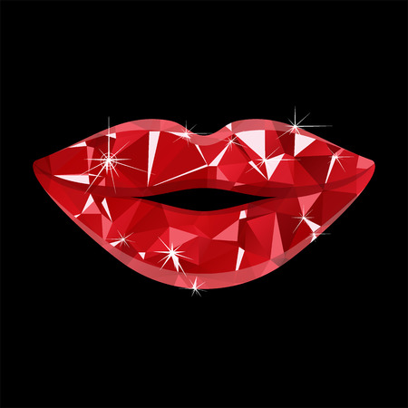Red ruby sensual lips vector icon. Lowpoly design vector illustration isolated on a white background.