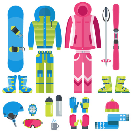 sports equipment: Flat design vector illustration set of winter equipment icon. Winter sports. Outfit, clothing, accessories for skiing, snowboarding. Holidays in mountains, active lifestyle. Isolated on white.