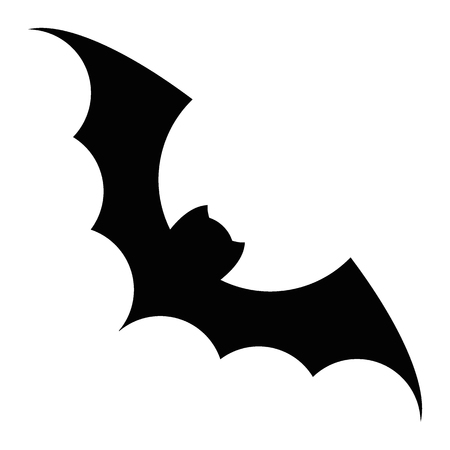 Bat silhouette vector black icon. Isolated on a white background. Illustration for decoration of congratulatory products for Halloween. Illustration