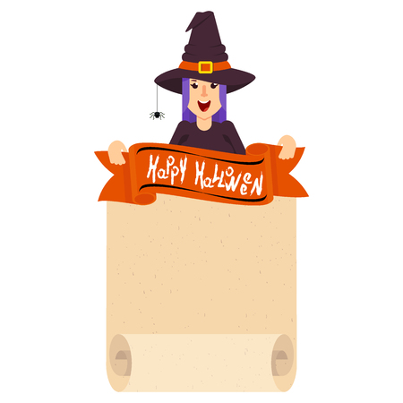 Halloween witch character. Girl in waist and hat of evil sorceress. Design element for decoration of congratulatory products for Halloween.