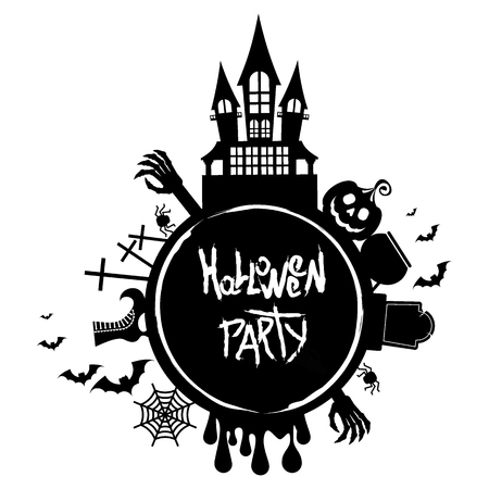 Halloween party. For decoration of congratulatory products for Halloween. Illustration