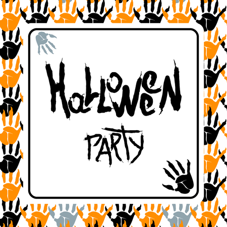 Halloween party poster with bloody fingerprints of zombies. For decoration of congratulatory products for Halloween. Stock Vector - 86282168
