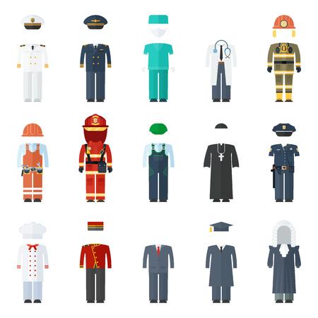 男制服ベクトル色アイコン セット。プロフェッショナルなフラット ベクトル イラスト。作業服、白い背景で隔離の服のシンボル。  イラスト・ベクター素材