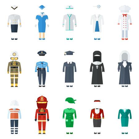 女性制服ベクトルカラーアイコンセット。プロのフラットベクトルイラスト。作業着、白い背景に隔離された服のシンボル。  イラスト・ベクター素材