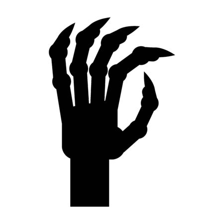 Zombie hand black. Design element for decoration of congratulatory products for Halloween. Illustration