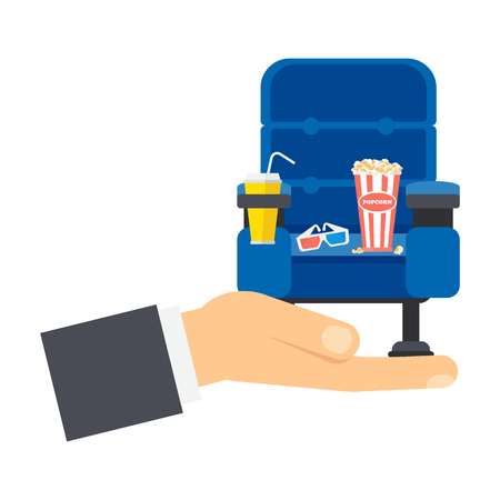 Hand holding blue comfortable cinema armchair Ilustrace