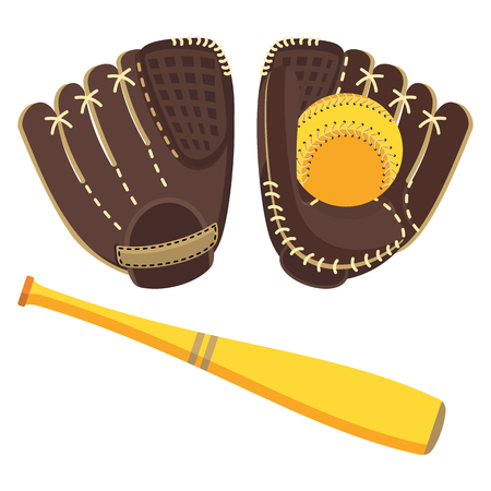Baseball equipment. Softball glove and ball. Flat vector cartoon illustration. Objects isolated on a white background. Illustration