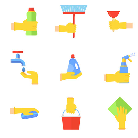 Clean flat vector icons set. Collection of cleaning tools in hand. Housework supplies packaging, colorful domestic clean hygiene kitchenware concept illustration. Objects isolated on white background. Illustration