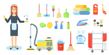 Maid flat vector character. Girl, woman in uniform with cleaning supplies and vacuum cleaner. Cleaning service of hotels and houses. Cartoon illustration. Objects isolated on a white background. Illustration