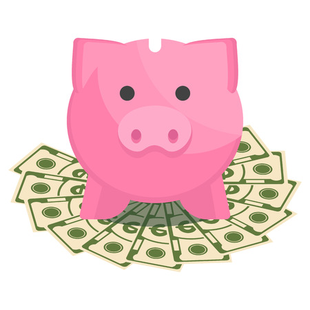 Vector save money concept with piggy bank. Illustration