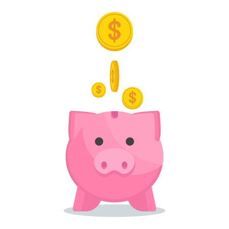 Vector save money concept with piggy bank. Flat vector cartoon illustration. Objects isolated on a white background.