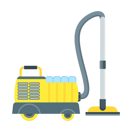 Vacuum cleaner vector icon isolated on white. Electrical vacuum cleaner. Equipment for hotel, house cleaning tool device. Domestic Vacuum sweeper. Illustration