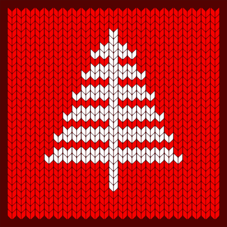 Knitted Christmas tree pattern vector. Flat cartoon illustration. Objects isolated on white background.