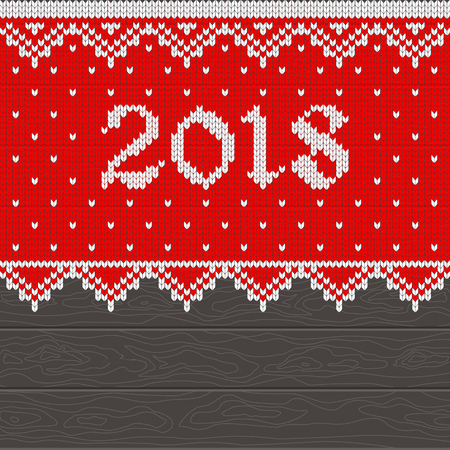 Christmas pattern knit. Card template with 2018 new year on red knitted fabric and dark wooden background. Flat vector cartoon illustration. Illustration