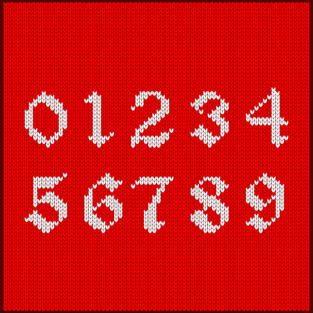 Number of digits from one to ten as knitted pattern. Texture of jacquard with white numerals. Decoration for postcard, greetings, seasonal sale and discount in winter, for Christmas and New Year. Illustration