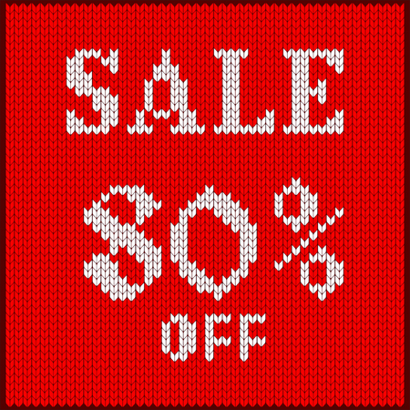 Knitted pattern of discount rate. Sale off eighty percent. Texture in Scandinavian style with white numerals. Label for price tags in online and offline stores, on ads on websites and social media.