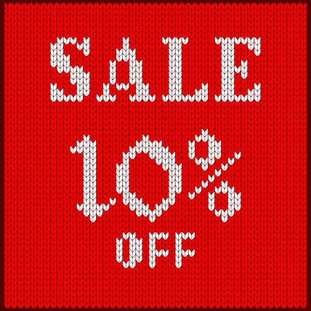 Knitted pattern of Sale discount rate. Illustration