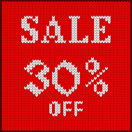 Knitted pattern of discount rate. Sale off thirty percent. Texture in Scandinavian style with white numerals. Label for price tags in online and offline stores, on ads on websites and social media.
