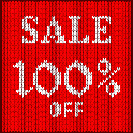 Knitted pattern of discount rate. Sale off one hundred percent. Texture in Scandinavian style with white numerals. Label for price tags in online and offline stores, ads on websites and social media.