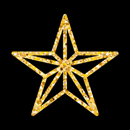 Greeting Christmas glitter star for luxury style. Golden Xmas decoration on black background.