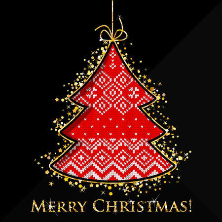 Greeting Christmas card with knitted golden glitter tree in a minimalistic abstract luxury style. Golden Xmas trees on black background. 矢量图像
