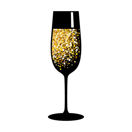Champagne glasses icon. Golden bubbles of air, a festive toast, a reason for joy. Flat vector cartoon illustration. Objects isolated on white background. Imagens - 90490882
