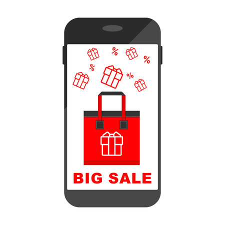 Mobile phone, smartphone and cell phone with sale offer. Flat vector cartoon illustration. Objects isolated on transparent background.