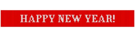 Congratulations on Christmas and New Year. Text on a red background in the form of a ribbon with a knitted fabric texture. Flat vector cartoon illustration. Objects isolated on white background. 向量圖像