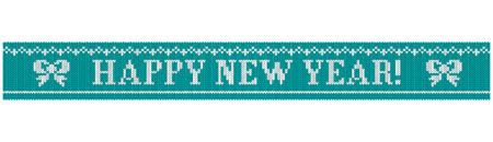 Congratulations on Christmas and New Year. Text on a blue background in the form of a ribbon with a knitted fabric texture. Flat vector cartoon illustration. Objects isolated on white background.