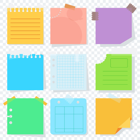 Bright square colored sheets of paper for notice. Kanban, notes, reminder of the action plan. Flat vector cartoon illustration. Objects isolated on transparent background.