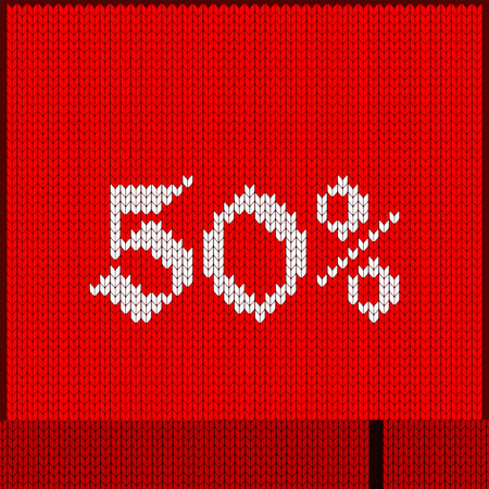 Knitted pattern of 50% discount rate.  Texture in Scandinavian style with white numerals. Illustration
