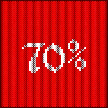 Knitted pattern of discount rate. Sale off seventy percent. Texture in Scandinavian style with white numerals. Label for price tags in online and offline stores, on ads on websites and social media.