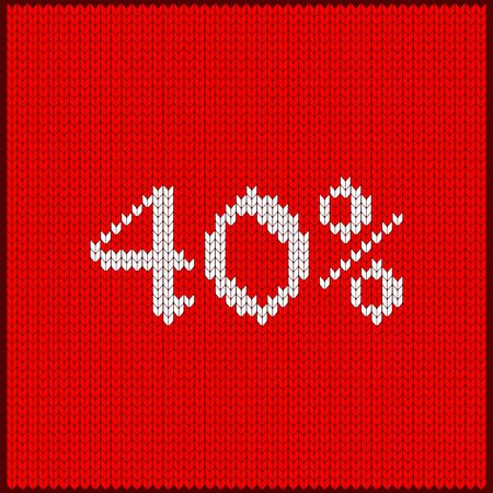 Knitted pattern of discount rate. Sale off forty percent. Texture in Scandinavian style with white numerals. Label for price tags in online and offline stores, on ads on websites and social media. Illustration