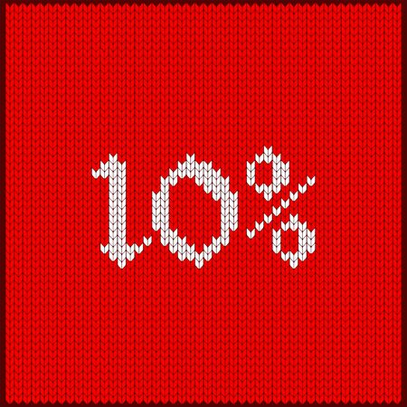 Knitted pattern of discount rate. Sale off ten percent. Texture in Scandinavian style with white numerals. Label for price tags in online and offline stores, on ads on websites and social media.