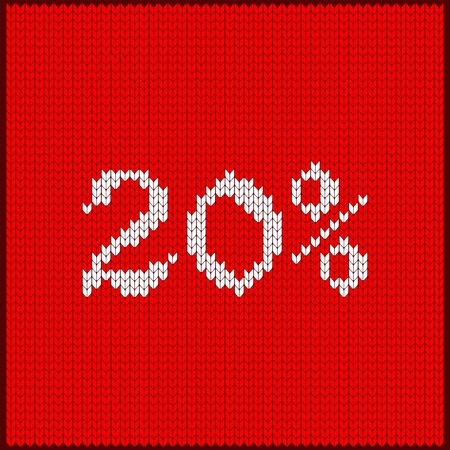 Knitted pattern of discount rate. Sale off twenty percent. Texture in Scandinavian style with white numerals. Label for price tags in online and offline stores, on ads on websites and social media. Illustration