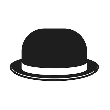 Bowler hat isolated on white. Accessory for ceremonial, festive costume. Flat design elements for holiday greeting card, certificate, advertisement, site, banner.