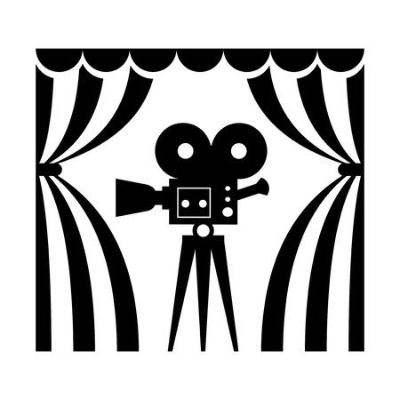 Cinema icon. Film camera flat vector cartoon illustration. Objects isolated on a white background.  イラスト・ベクター素材