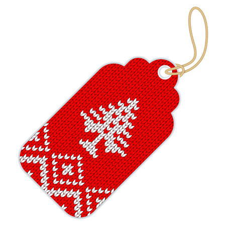 Tag for a full sale, seasonal discounts knitted design.