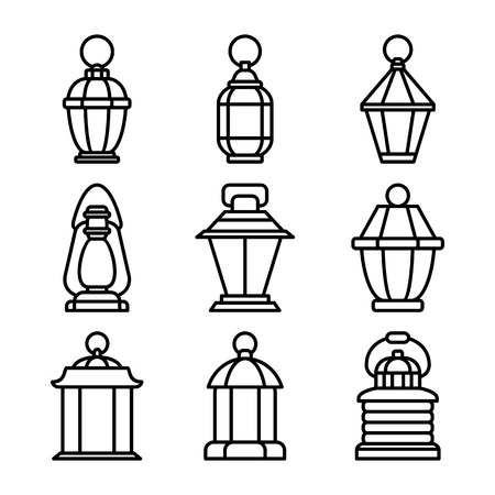 Lantern oldfashioned set  イラスト・ベクター素材