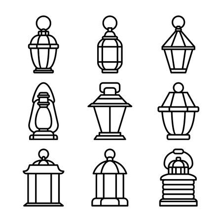 Lantern oldfashioned set Ilustração
