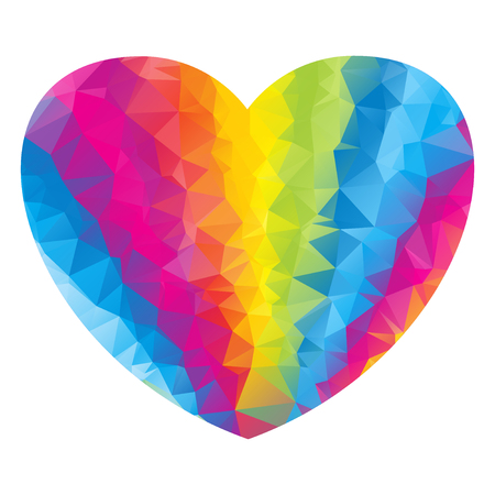 Polygonal heart of the color of the rainbow. Flag and symbol of gay pride, LGBT love. Vector low poly illustration. Objects isolated on white background.
