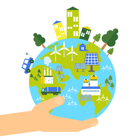 Save the earth flat vector concept. Go green cartoon illustration. Objects isolated on white background.