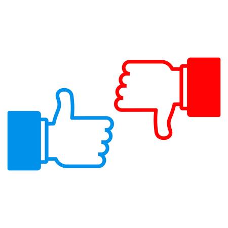 I like and dislike sign. Conceptual symbol for approval in social media Vettoriali