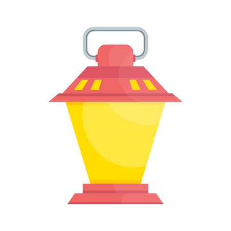 Bright old fashioned hand flashlight. Kerosene lamp or candle for lighting streets, houses. Decor for festival, birthday, wedding. Flat vector illustration. Objects isolated on white background. Illustration